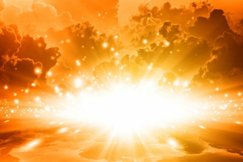 Bright Light in Golden Sky of Jesus' Return
