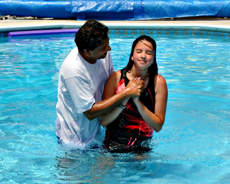 Young Woman Follows Jesus in Baptism