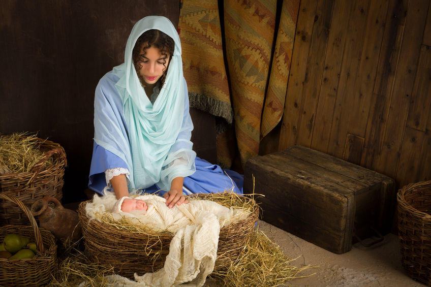Mary and Her Newborn Baby Jesus